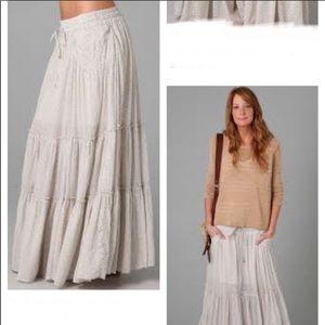 NWT Free People Cream Tiered Maxi Skirt (Tea)